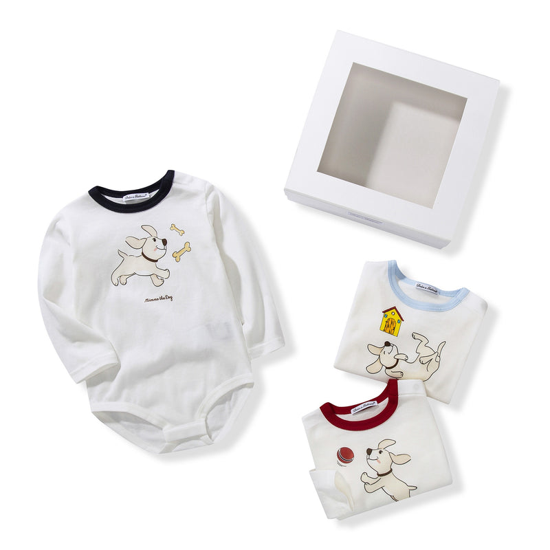 Baby White Dog Printed Gift Set 3 Piece