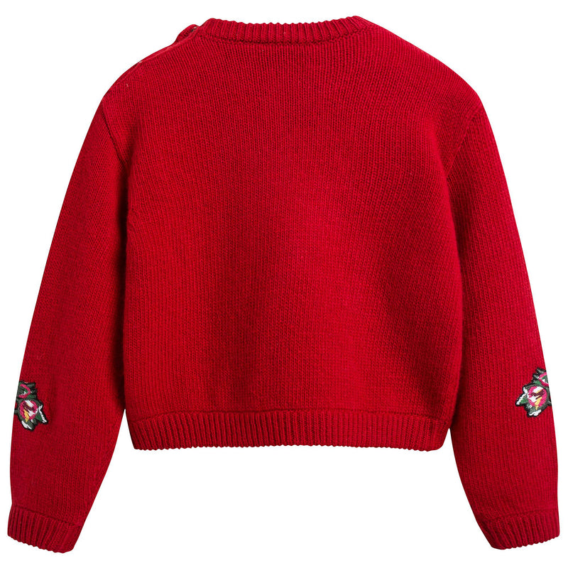 Baby Girls Red Rose Sweater