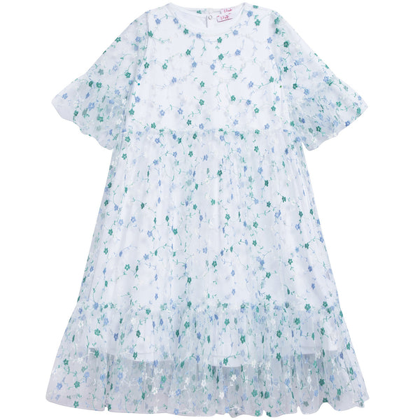 Girls Airforce Blue Cotton Dress
