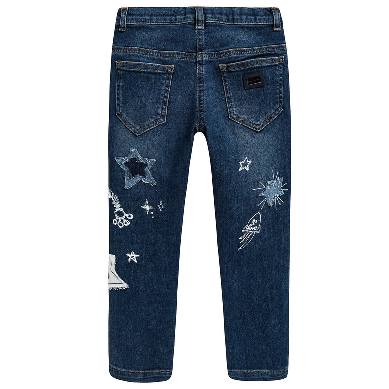 Girls Blue Stars Printed Jeans
