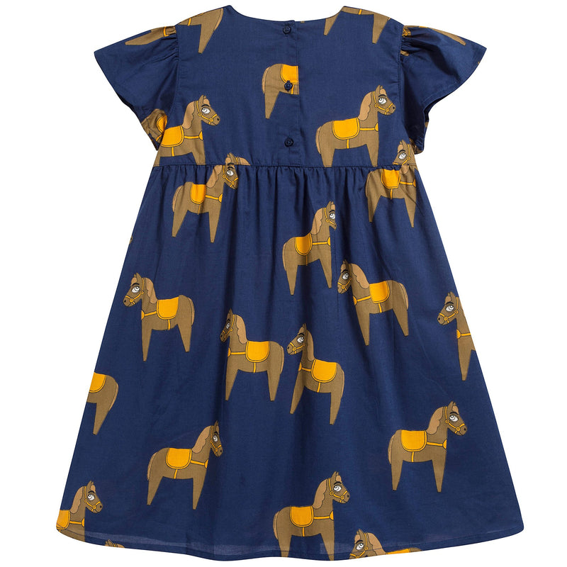 Girls Navy Donkey Organic Cotton Dress