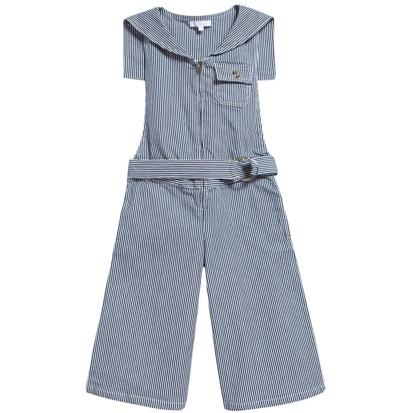 Girls Blue Striped Cotton Trousers