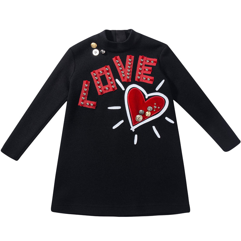 "Girls  Black  ""Love""  Cotton  Dress"