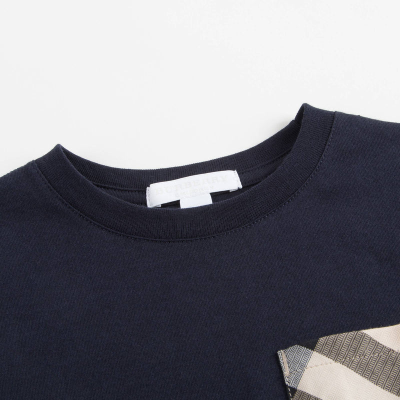 Boys Navy Blue Cotton T-shirt With Check Trim