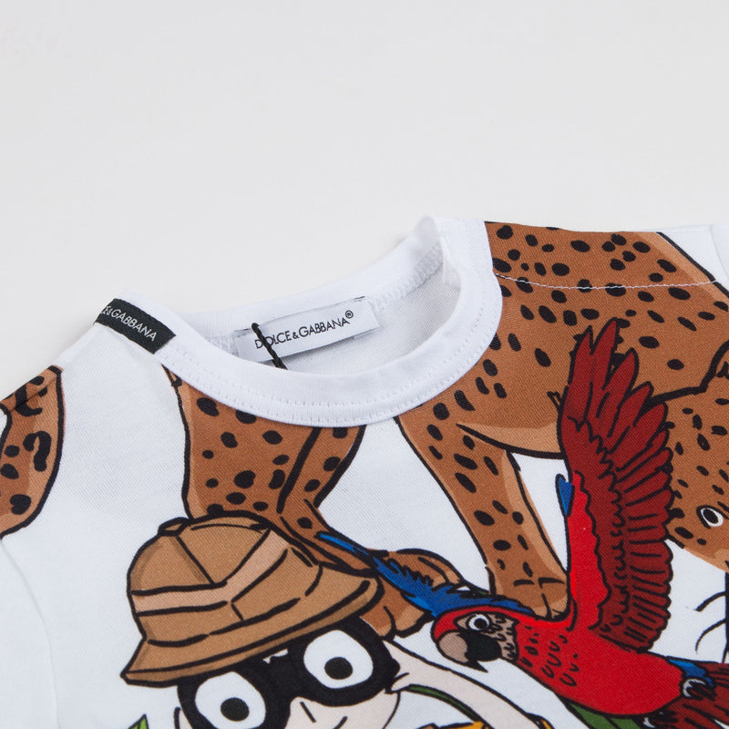 Boys White Forest Printed Cotton T-shirt