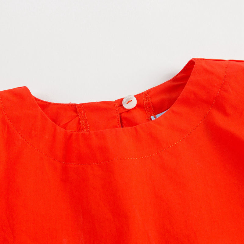 Girls Orange Cotton Top With Flounces