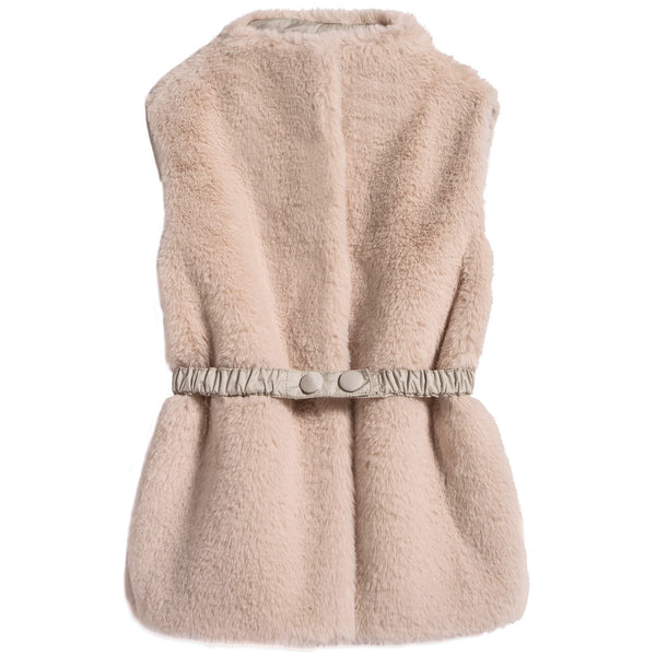 Girls Beige Belt Gilet
