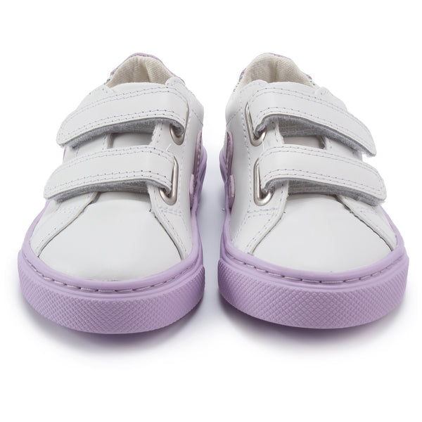 Baby White Leather Velcro With Purple