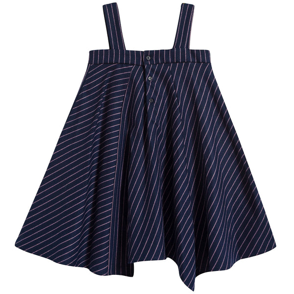Girls Blue & Pink Striped Dress