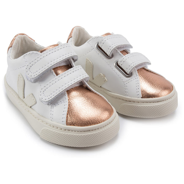 Girls White Leather Velcro With White