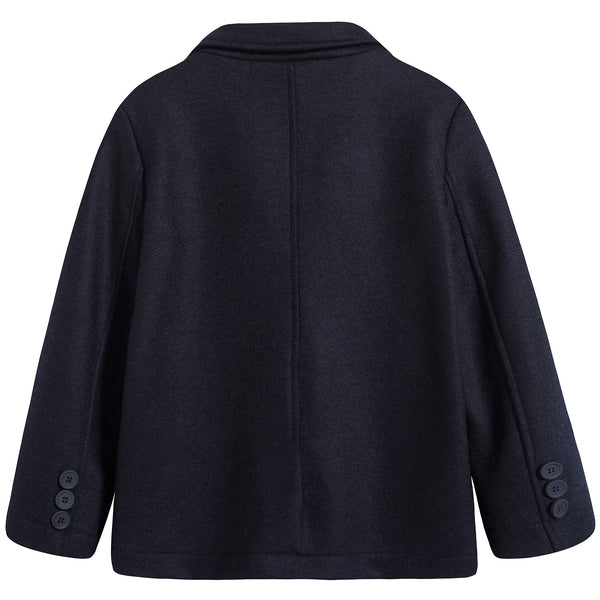 Boys Dark Blue Blazer Wool Coat
