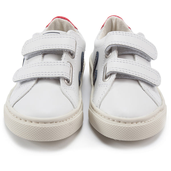 Girls & Boys White Leather Velcro With Blue