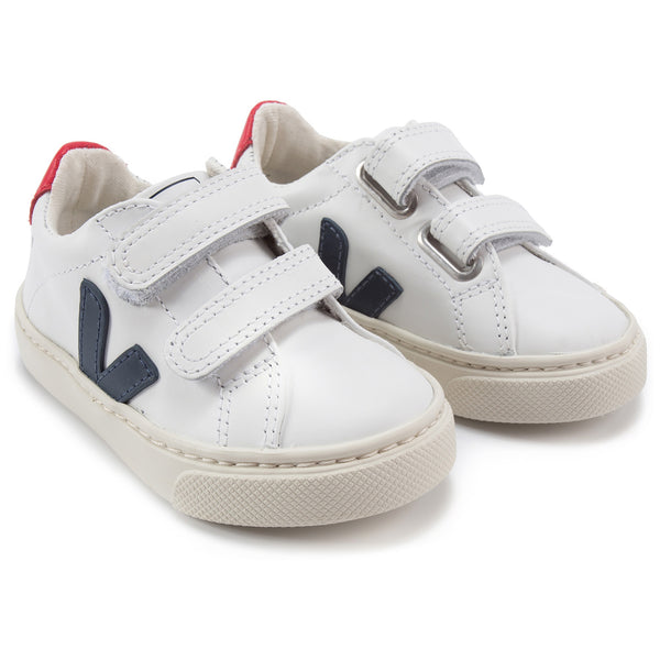Baby White Leather Velcro With Blue