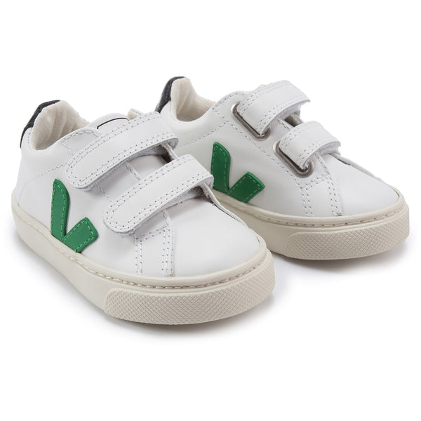 Girls & Boys White Leather Velcro With Green