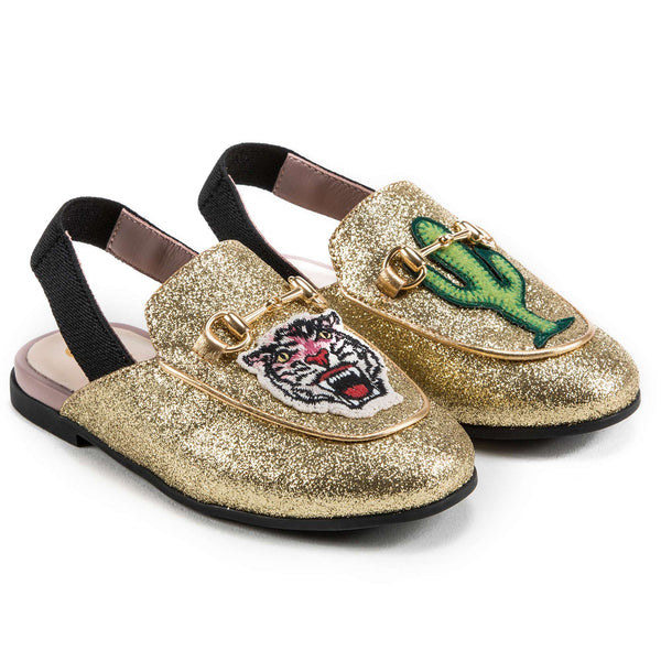 Girls Golden Printed Shoes