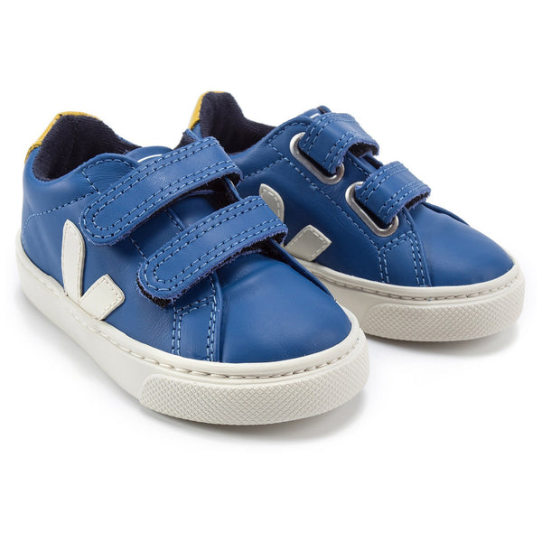 "Baby Blue Leather Velcro With White ""V"" Shoes"