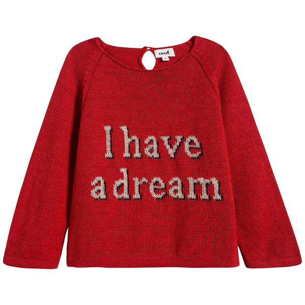 Girls Red Cotton Baby Alpaca Sweater