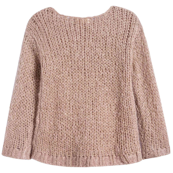 Girls Pink Mohair Gold Lurex Sweater