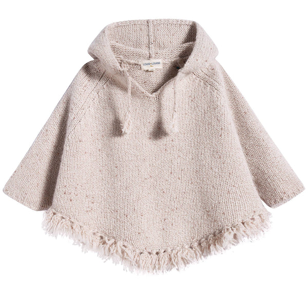 Girls Pink Lurex Knitted Wool Poncho