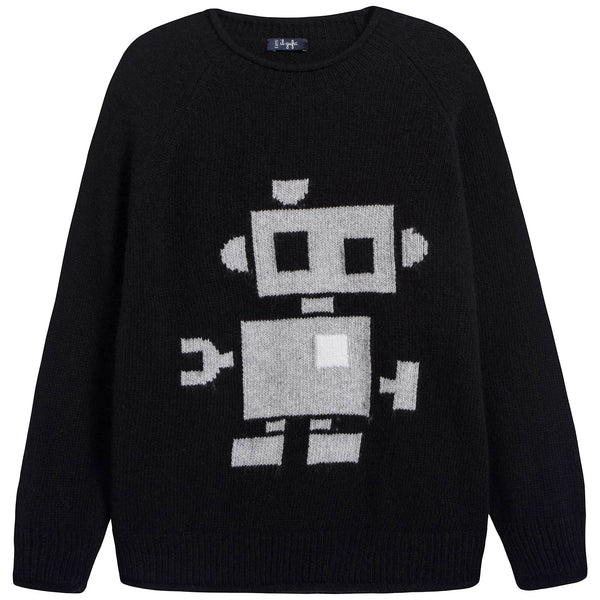 Boys Black & Grey Jacquard Wool Sweater