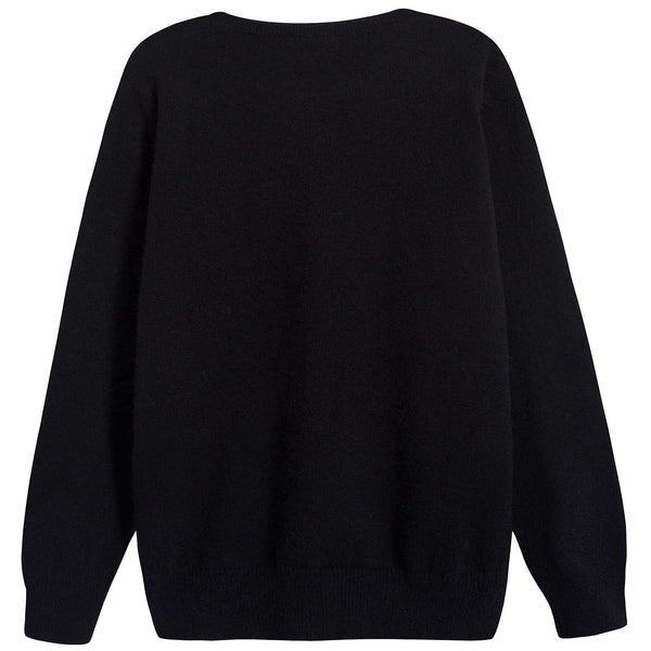 Boys Black & Grey Logo Wool Sweater