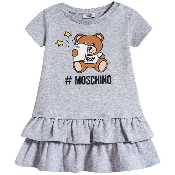 Baby Girls Grey Teddy Cotton Dress