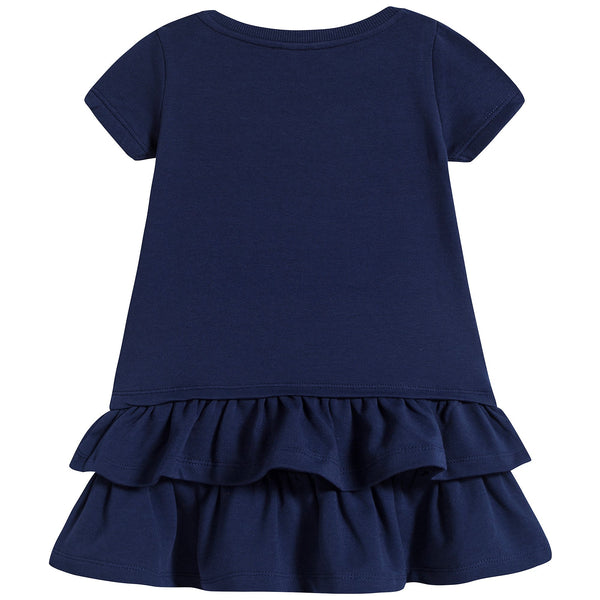 Baby Girls Navy Blue Teddy Cotton Dress