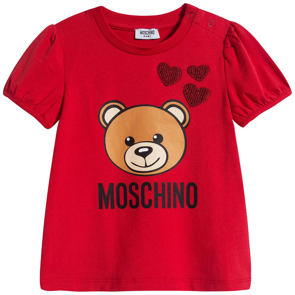 Baby Girls Red Cotton T-Shirt