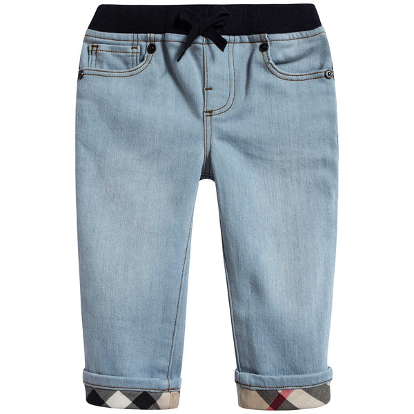 Baby Boys Light Blue Cotton Trousers