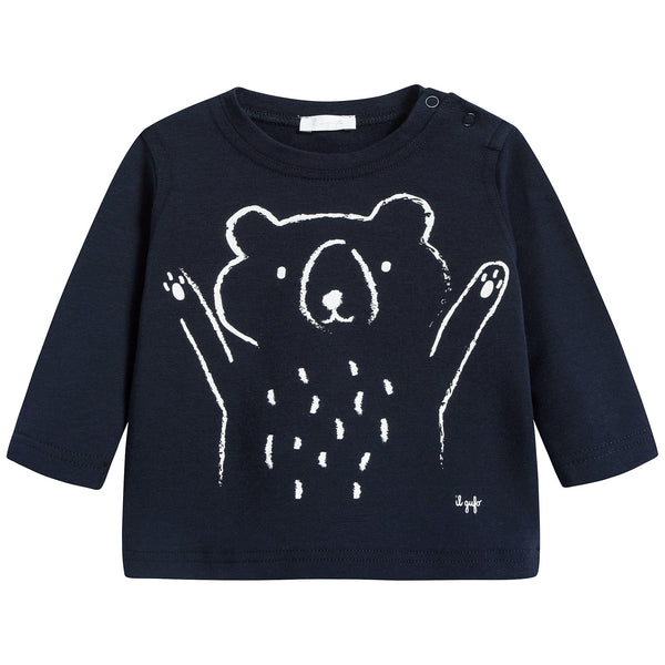 Baby Boys Navy Blue & White Cotton T-shirt