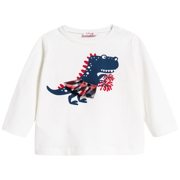 Baby Girls Milk & Blue Cotton T-shirt