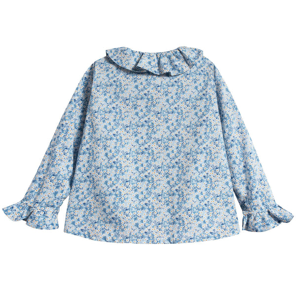 Girls Blue Small Floral Cotton Shirt