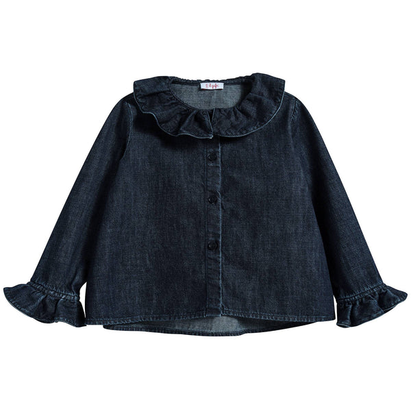 Girls Dark Blue Cotton Shirt