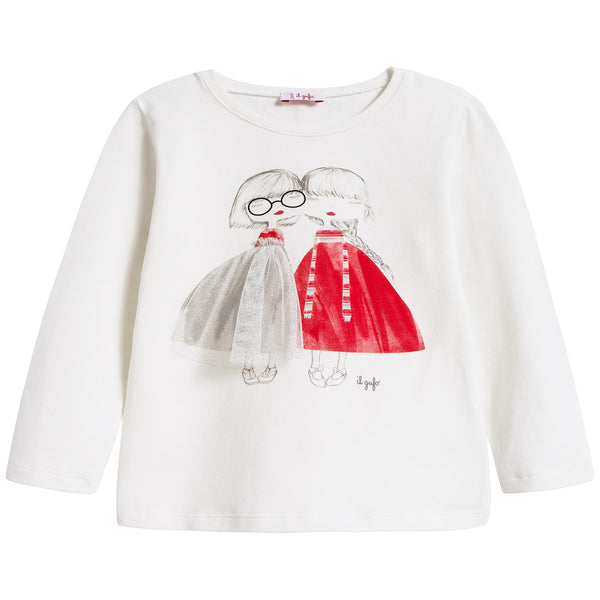 Baby Girls Milk & Red Cotton T-shirt