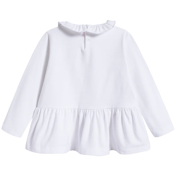 Girls White Cotton T-shirt