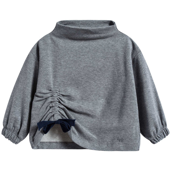 Girls Steel Grey & Night Blue Cotton Sweater