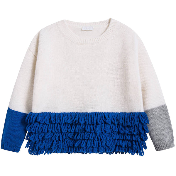 Girls Milk & Blue Wool Sweater