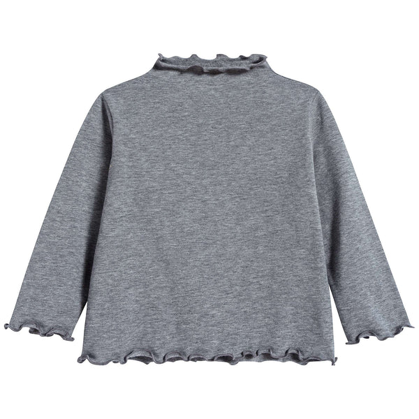 Girls Steel Grey Cotton T-shirt
