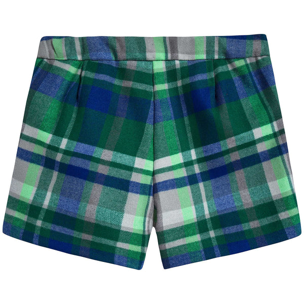 Girls Apple Green Check Cotton Shorts