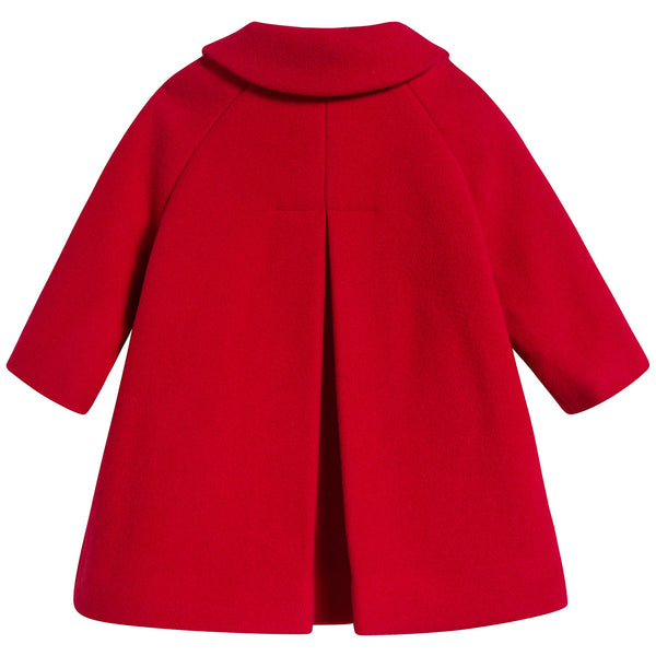 Girls Red Carnation Wool Coat