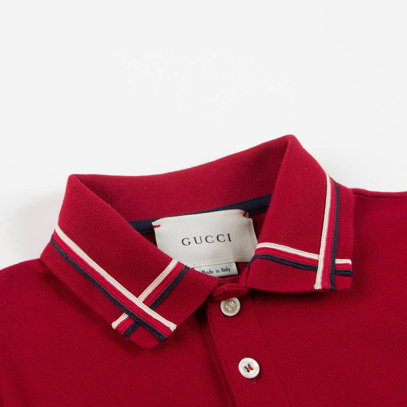 Boys Red Cotton Polo Shirt With Check Trim