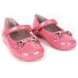 Girls Pink Patent Leather Horsebit Shoes