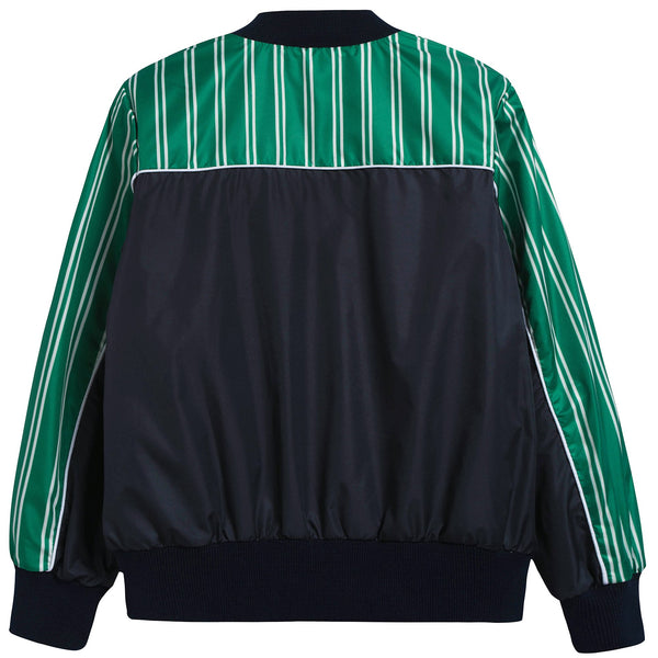 Boys Black & Green Nylon Bomber Jacket