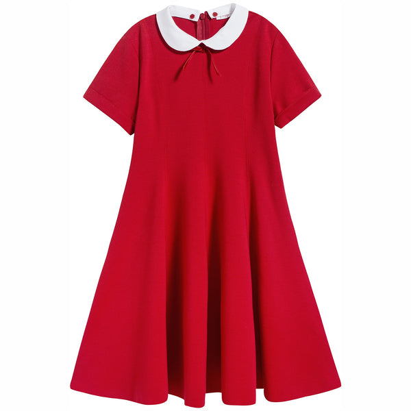 Girls Red Collar Detachable Dress
