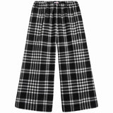 Girls Black Check Straight Trousers