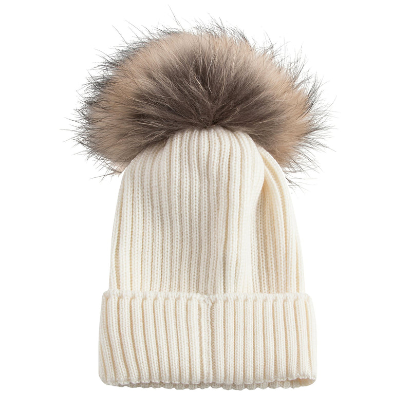 Boys & Girls Ivory Knitted Hat With Fur Pom-Pom Trim