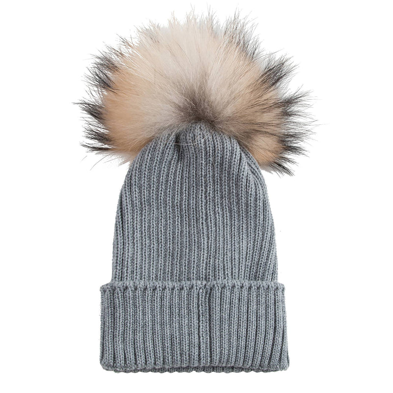Boys & Girls Grey Knitted Hat With Fur Pom-Pom Trim