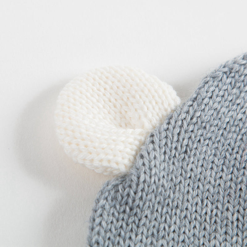 Baby Grey Knitted Hat With Ears