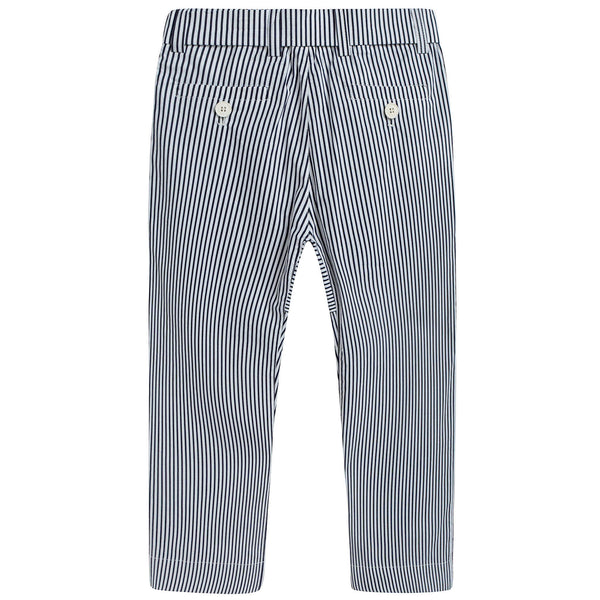 Girls Blue & White Striped Cotton Trousers