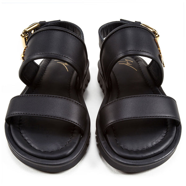 Girls & Boys Black Calf Leather Sandal